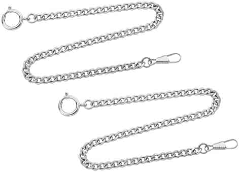 Gotham Set of Two Silver-Tone Pocket Watch Chains Fob Curb Link 14