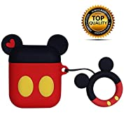 Airpods Case Cover Cute Favorite Cartoon Design with Keychain | Protective Premium Silicone Anti-Lost Dust-Proof & Shock Resistant ... (Red-Mickey)