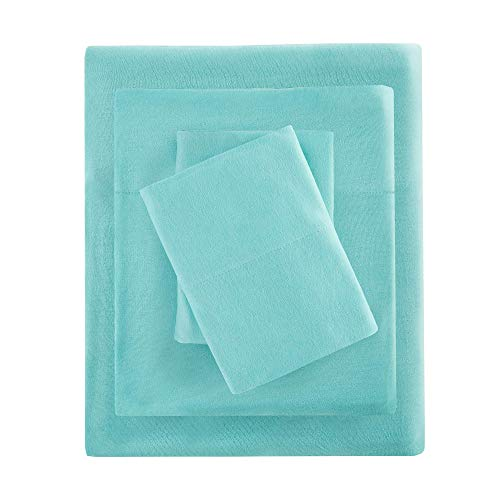 Intelligent Design ID20-698 Cotton Blend Jersey Knit Sheet Set Queen Aqua ()
