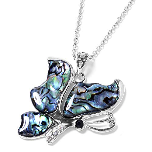 (Stainless Steel Abalone Shell Black & White Crystal Silvertone Butterfly Chain Pendant Necklace for Women Jewelry Gift 20