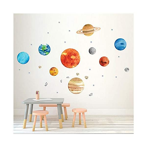 Planet Wall Decals, H2MTOOL Removable Solar System Watercolor Space Wall Stickers for Kids (Plants)