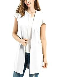 Mooncolour Women Fall/Winter Wool Blend Vest Waistcoat Sleeveless Jacket Coat