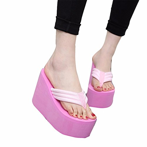 Clip Heeled Sandales Patinage Summer Femmes Chaussures High Beach Humaine YUCH Resort pink 1BSZRqwnxx