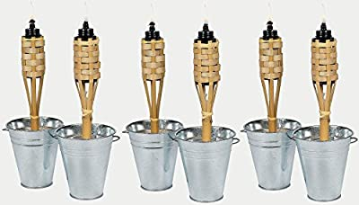 "Set Of 6 Mini 11"" Bamboo Tiki Torches Luau Party Tabletop Lights"