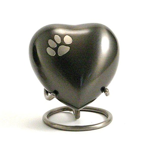 Paw Brass Memorial Keepsake for Cats and Dogs - Extra Small - Holds Up to 3 Cubic Inches of Ashes - Grey Cremation Keepsake for Pet Ashes - Custom Engraving Included