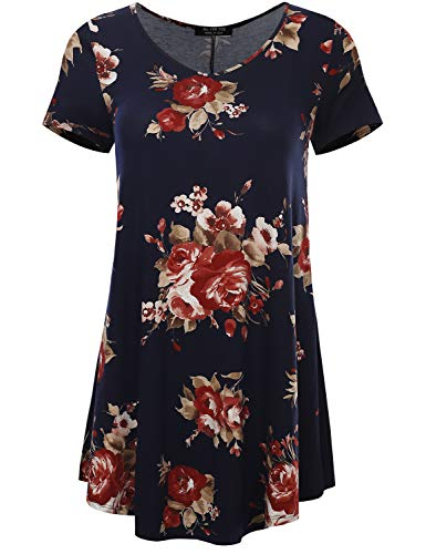 (All for You Women's Short Sleeve V-Neck Flare Hem Floral Print Tunic Midnight 28115 XXX-Large)