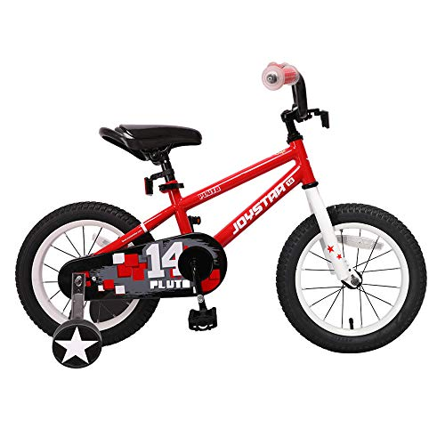 JOYSTAR 14'' Kids Bike with Training Wheel for 3 4 5 Years Boys & Girls, Unisex Kids Bicycle for Child, BMX, Red - Face Guards Steel