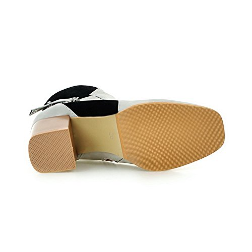 Buckle Boots nbsp;Lining nbsp; Velvet Womens Microsuede Platform Chunky SXC02656 AdeeSu Gray Heels tzZW6wq