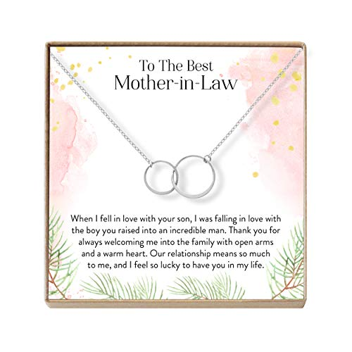 Dear Ava Mother-in-Law Gift Necklace: to My Mother-in-Law, Mother of My Husband, 2 Asymmetrical Circles (Silver-Plated-Brass, NA) (Best Gifts For In Laws)