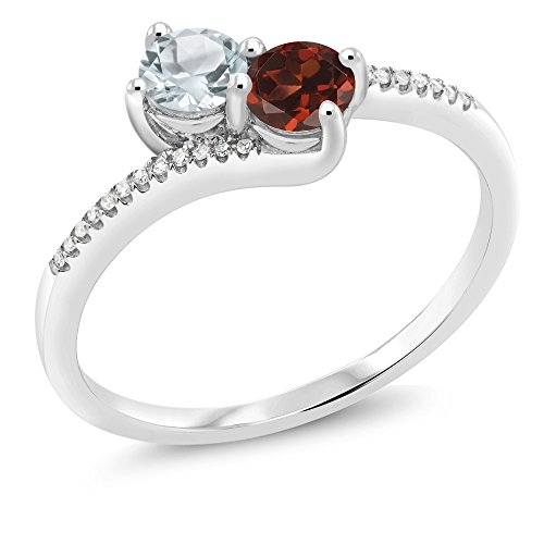 Gem Stone King 10K White Gold inchesForever Unitedinches 2-stone Diamond Right-hand Engagement Birthstone Ring Round Sky Blue Aquamarine Red Garnet 0.76 cttw, Engagement Birthstone Ring) (Size ()