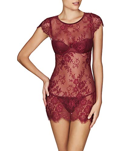 (Frederick's Of Hollywood Women's Floral Lace Chemise Babydoll - Sexy Mesh Lingerie - Ophelia Cabernet, Medium )