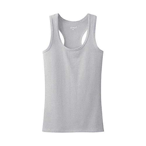 Women's Summer Solid Vest Tops Cotton T Shirt Solid color Grey