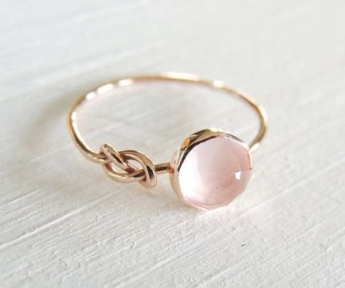 Moonstone Rose Ring - Zhiwen Opal Jewelry Beautiful Fashion Women Pink Moonstone 18K Rose Gold Filled Ring Wedding Jewelry Size6-10 (US Code 8)