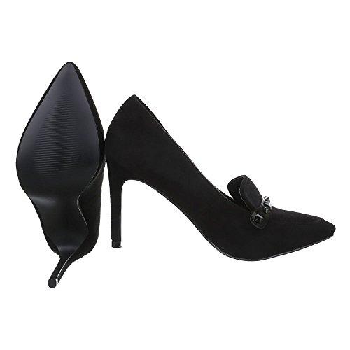 Ital-Design - Zapatos de vestir de Material Sintético para mujer Schwarz EL15597-2