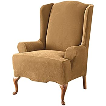 Amazon Com Sure Fit Stretch Pique Reclining Wing Chair