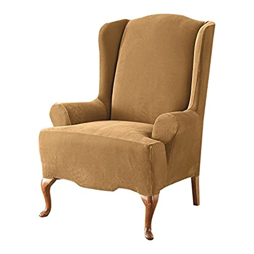 Sure Fit Stretch Pique   Reclining Wing Chair Slipcover   Antique (SF37310)