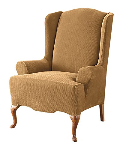 Sure Fit Stretch Pique - Reclining Wing Chair Slipcover  - Antique (SF37310) by Surefit