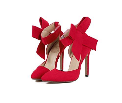 Liangxie Zhhzz Fine Gran Superb Alto Rojo Con De Tacón Alto Mariposa color Ladies Zapatos Tamaño Puro Moda Punta Talón confort rUqr5