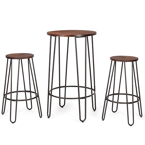 COSTWAY 3 Pieces Bar Table Set with 2 Stools Round Height Steel Pub Dining Bistro Table Set Coffee ()