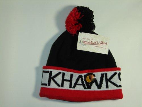 Mitchell and Ness NHL Chicago Blackhawks Vintage Block Cuffed Knit Hat Pom Beanie