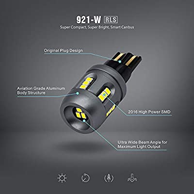 SIRIUSLED RLS 921 Canbus led backup reverse trunk light bulb with built in resistor error free decoder smart driver super bright full aluminum body white 6500k pack of 2: Automotive