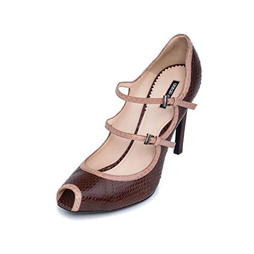 (GIORGIO ARMANI Women Brown Snake Leather Peep Toe Mary Jane High Heel Pump Shoes US 9 EU 39)