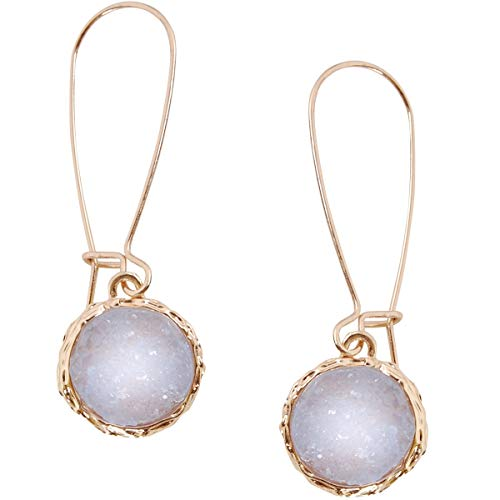 Humble Chic Simulated Druzy Threaders - Upside-Down Long Hoop Dangle Drop Earrings for Women, Pale Lavender, Simulated Amethyst, Simulated Tanzanite, Purple, Gold-Tone