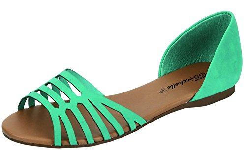Breckelles Dames Dorsay Slip Op Platte Sandalen Aqua