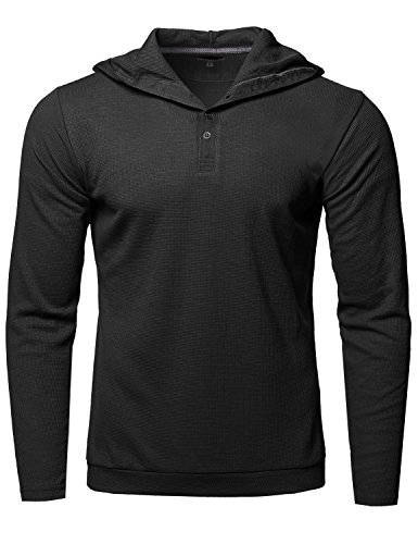 Premium Quality Thermal Hooded Long Sleeve T-Shirt Black Size S