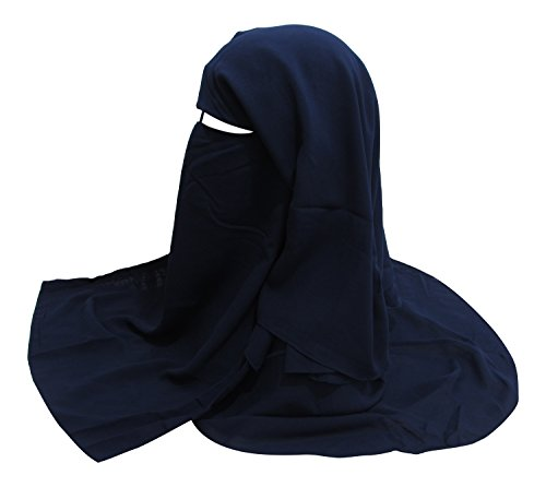 (TheHijabStore.com One Piece Three Layer Saudi Style Niqab Muslim Face Veil with Satin Cord Navy Blue)