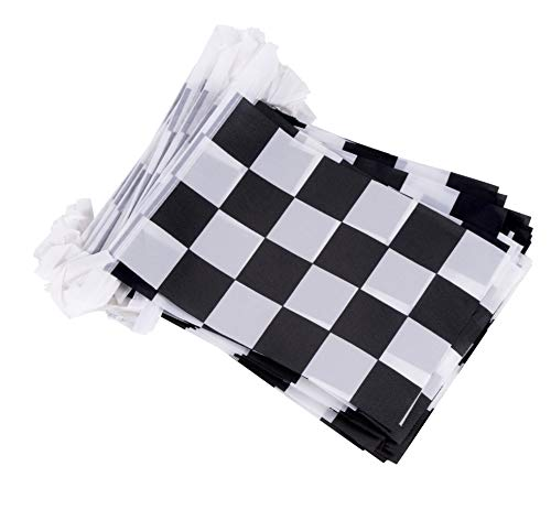 Juvale Checkered Flags - 100-Piece Racing Flag Pennant Banner Hanging Decoration, Garland for Race Car Theme Birthday Party Indoor Outdoor Display, 5.75 x 8 Inches, 82 Feet Total Length