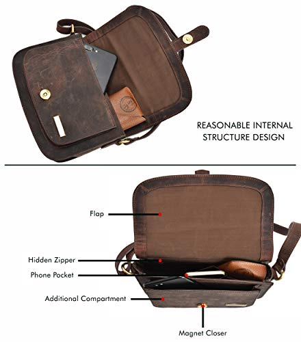 Crossbody Bags for Women - Real Leather Multi Pocket Travel Purse and Sling Bag (Mocha)