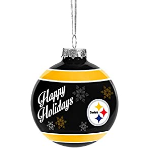 Forever Collectibles 2016 Christmas Holiday Glass Ball Ornament - Pittsburgh Steelers at Steeler Mania