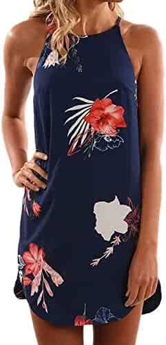 Asvivid Women's Summer Halter Neck Floral Print Sleeveless Casual Mini Dress