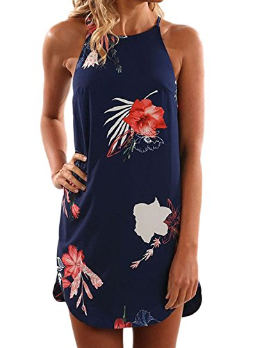 Asvivid Women's Summer High Neck Flower Printed Sleeveless Club Night Out Mini Dress Small Red Flower