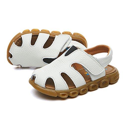 KVbaby Geschlossene Sandalen Aus Weichem Leder Sommer Outdoor Biegsame Sohle Trekkingsandalen mit Klettverschluss für Jungen Mädchen Weiß
