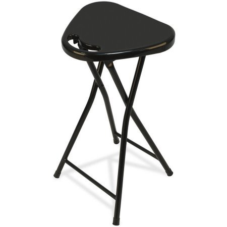 Mainstays Metal Folding Stool with Handle Triangular Shaped, Black by Mainstay