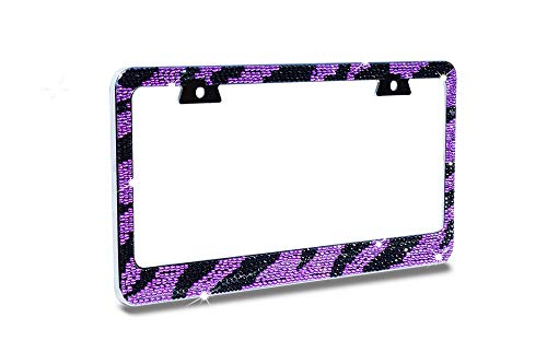 JR2 Premium Bling PURPLE/BLACK ZEBRA Designed (Purple Cap-A Type) Crystal Diamond Rhinestone-Metal Chrome License Plate Frame