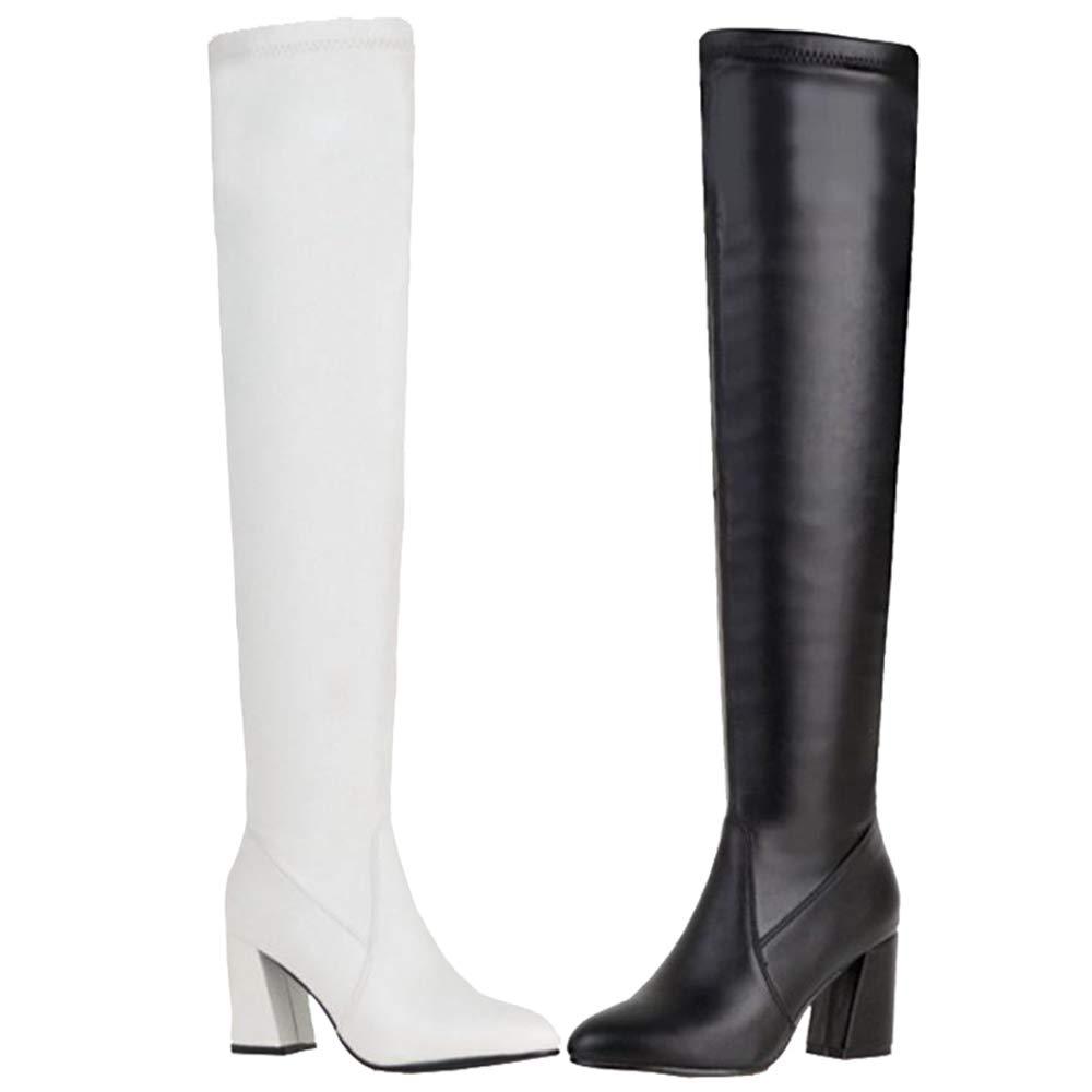 Smilice Damen Damen Damen über Kniehohe Stiefel mit Blockabsatz afd2da