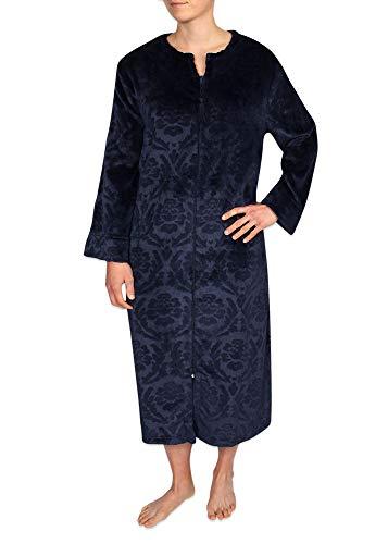 Miss Elaine Women's Jacquard French Fleece Long Zipper Robe - Two Side Pockets Midnight Blue