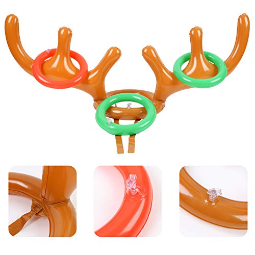 LovesTown Inflatable Christmas Ring Toss Game, Inflatable Antler Hat and Inflatable Christmas Hat with 16 Pcs Rings Reindeer Ring Toss Hat for Christmas Party Games