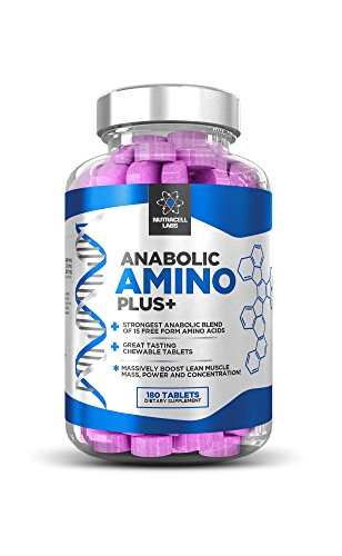 Anabolic Amino Plus : Premium 15 Amino Acid Blend with BCAA (180 Raspberry Chewable Tablets) (Blend Amino Labs)