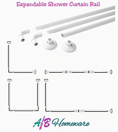 A&B HOMEWARE® EXTENDABLE SHOWER CURTAIN RAIL - ALUMINIUM L & U SHAPE 4 WAY WHITE SHOWER CURTAIN POLE