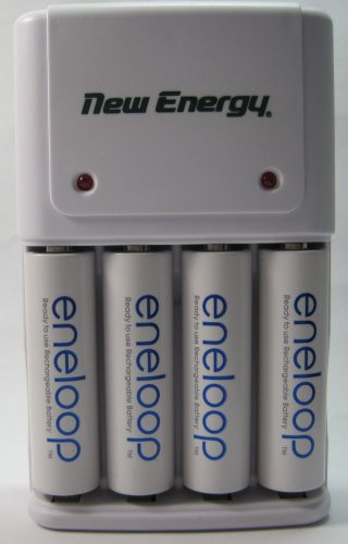 NEW Sanyo Eneloop 4 Pack AA NiMH 2000Mah Bat (MIN 1900) With a New Energy 4-Position Charger