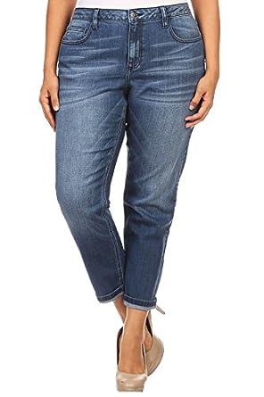 b63ceb2759083 Cello Jeans Women PLUS SIZE Faded Boyfriend Jeans with Whisker Detail 18  Medium Denim. Ci Sono