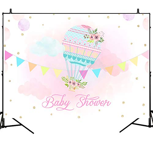 (Mehofoto Baby Shower Backdrop Hot Air Balloon Background Pink Cloud Decoration 7X5ft Vinyl Kids Party Photography Backdrops Party Booth Cake Table Banner Background)