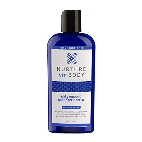 "Baby Organic Mineral Sunscreen Lotion by Nurture My Body | SPF 32 - All-Natural, EWG""1"" Rated, Zinc Oxide Sun Protection for Infants (4 fl oz)"