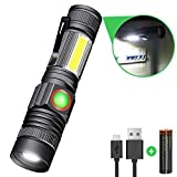 Karrong Strong Magnetic Led Torch USB Rechargeable Super Bright Flashlight 4 Modes Updated Version Zoom Work Torches with COB Side Light for Night Activity or More