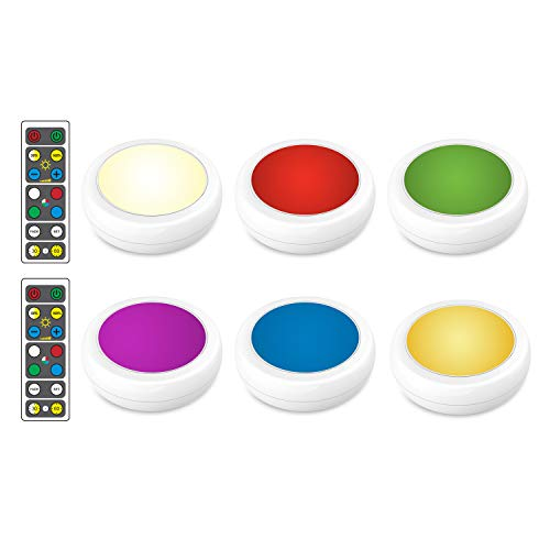 Brilliant Evolution Wireless Color Changing LED Puck Light 6 Pack With 2 Remote Controls | LED Under Cabinet Lighting | Closet Light | Battery Powered Lights | Under Counter Lighting | Stick On Lights ()