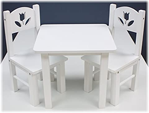 18 Inch Doll Furniture Wooden Table and Chairs Set - (18